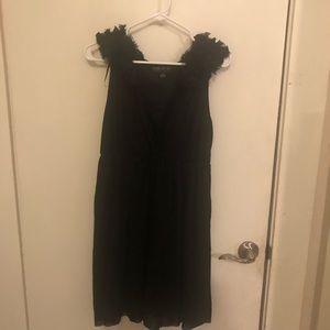 F21 Black Mini Dress w Floral sleeves
